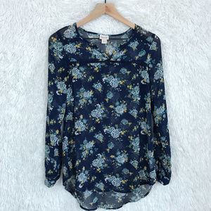 Blue Floral Tunic Sheer Mossimo